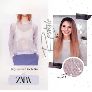 ZARA SEQUINED KNIT SWEATER NWT